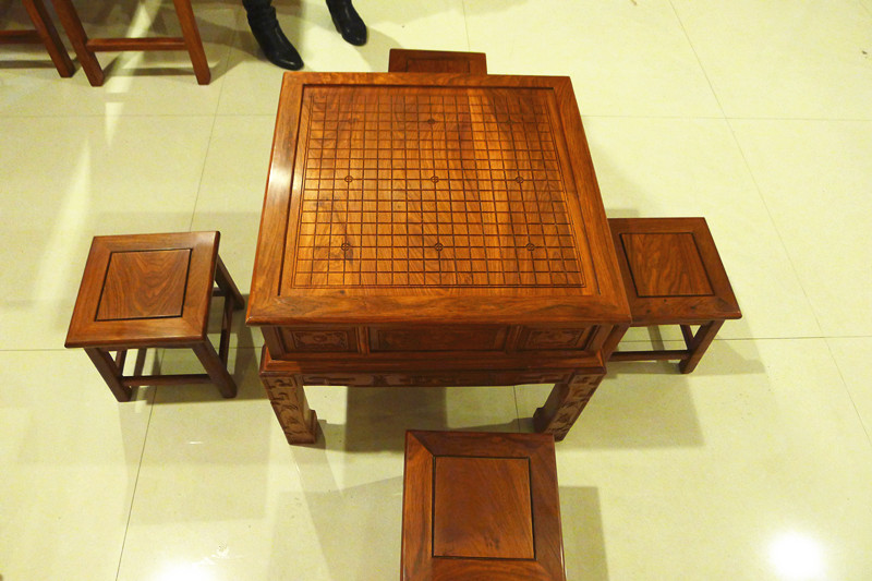 立体雕刻非洲花梨红木棋桌实木象棋桌围棋桌两用可配凳厂家直销图片