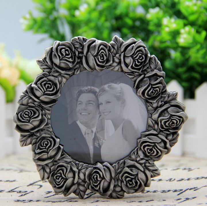 圆形玫瑰花边创意金属相框