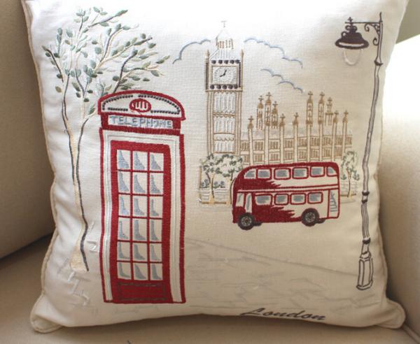 创意欧美风欧式建筑棉麻靠垫简约绣花靠垫套个性抱枕