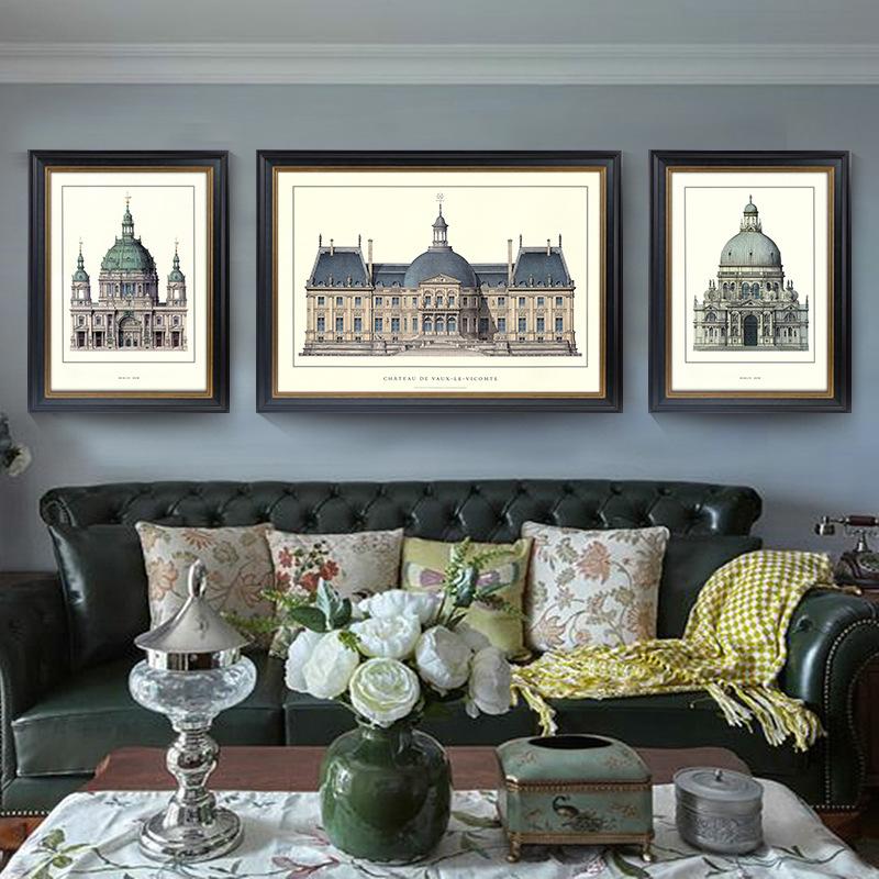 美式建筑裝飾畫客廳歐式壁畫沙發背景墻畫餐廳書房有框畫掛畫批發