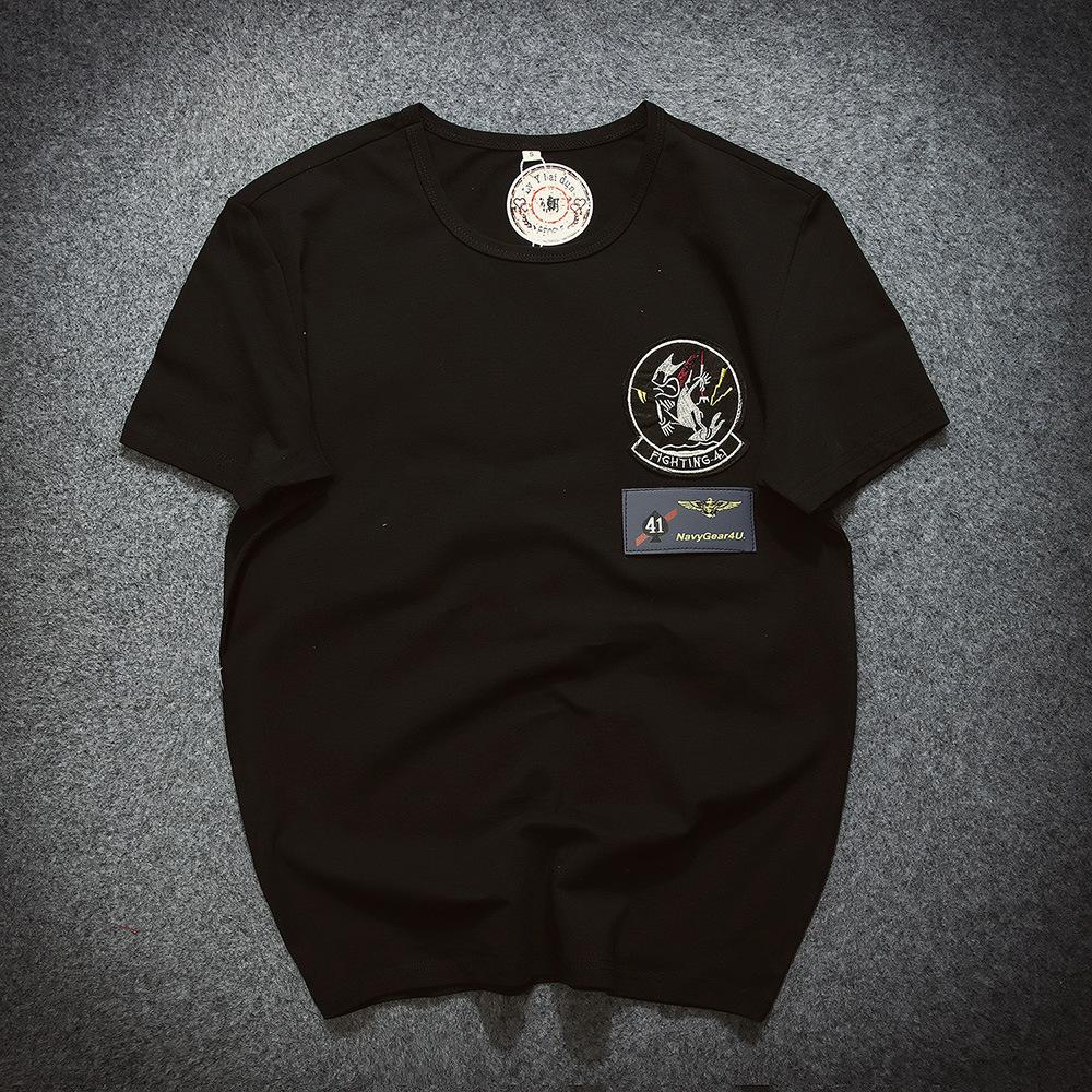 16年夏季男士休闲圆领短袖体恤韩版个性徽章男修身t恤男装打底衫