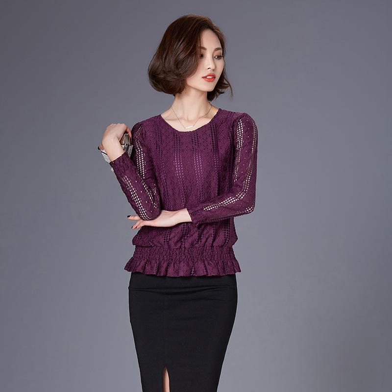 蕾丝镂空打底衫长袖