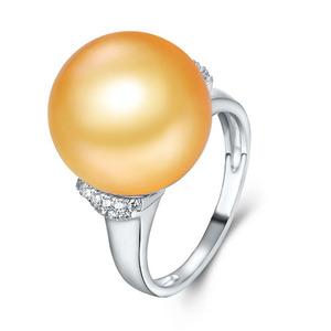 珍珠批发价  纯金珍珠戒指 时尚指环新款 纯金不褪色