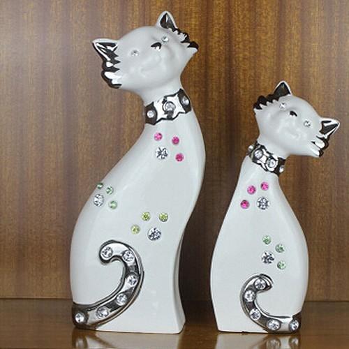 家居装饰 客厅摆设 现代欧式陶瓷 电镀工艺品摆件 银色镶嵌情侣猫