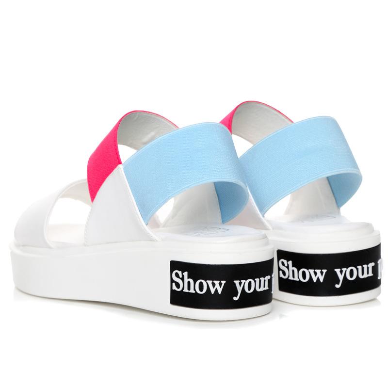 2016夏季新款松糕凉鞋女夏平底学生波西米亚平跟厚底白色舒适女鞋