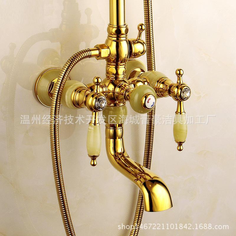 欧式全铜金色天然玉石花洒套装 仿古冷热水龙头浴室带升降淋浴器图片