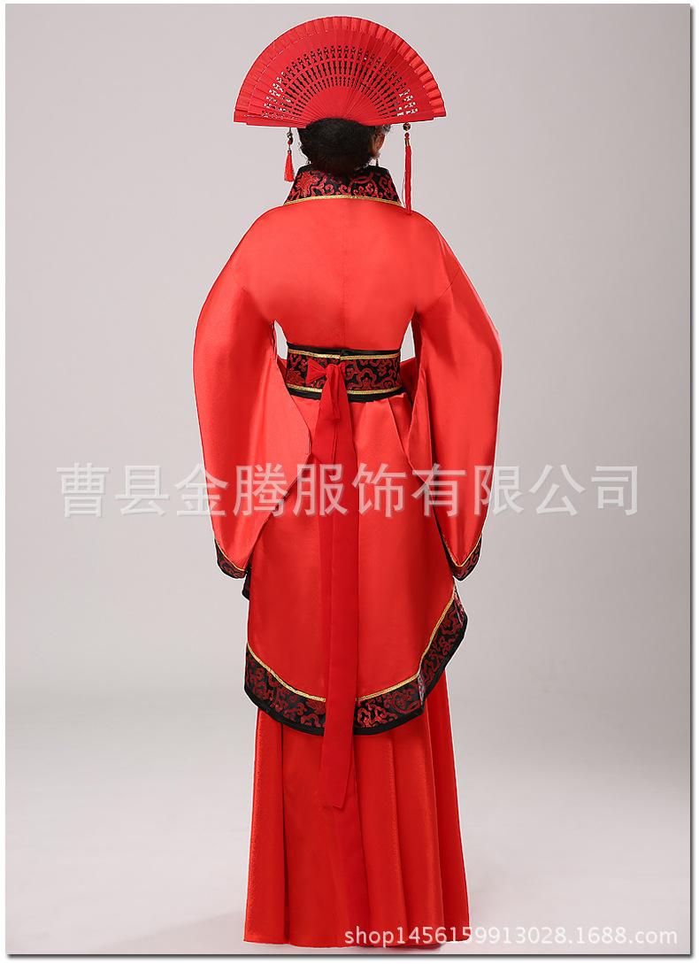 秀禾服新娘礼服 唐装汉服中式结婚嫁衣婚服 古装服装汉服古代红色图片