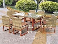厂家批发休闲藤桌椅,铝架编藤桌椅,花园藤桌椅定制