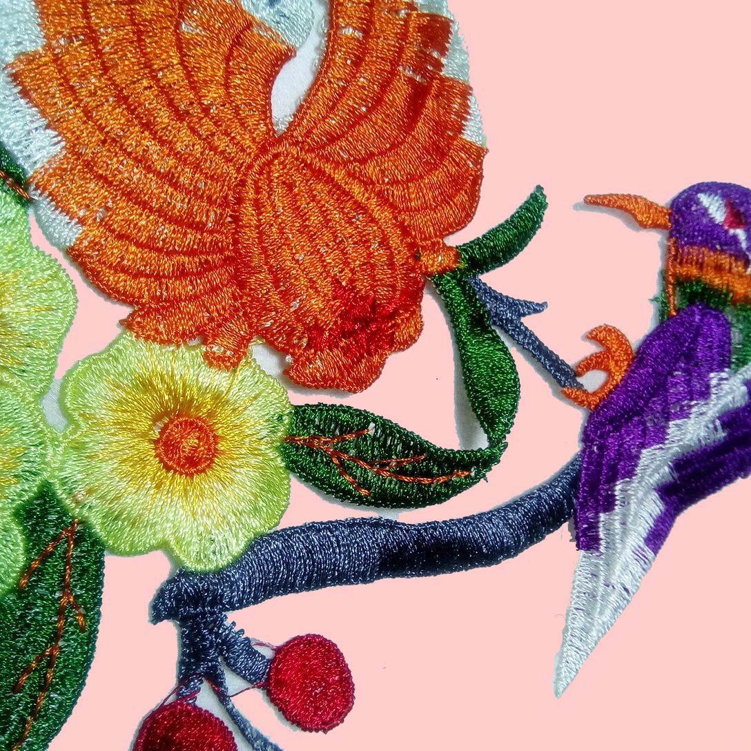 水溶多色彩色涤纶花朵 衣服贴花 娄空绣花 花边
