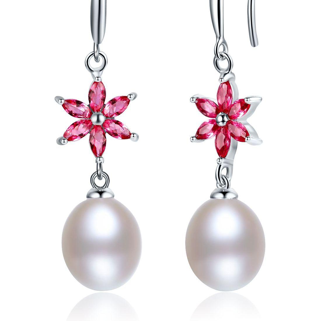 珍珠批发价   灵动优雅 9mm天然珍珠纯银耳钩