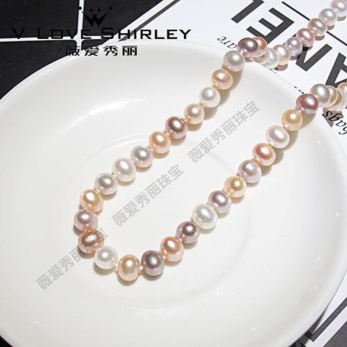 珍珠批发价 薇爱秀丽天然淡水珍珠项链7.5-9mm扁扣强光馒头型扁珠简约百搭饰品清仓送妈妈送婆婆礼品