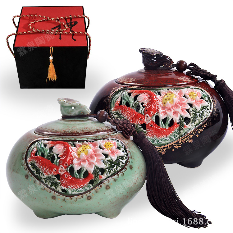 批发陶瓷高档工艺品窑变镂空陶瓷茶叶罐大号茶具配件创意家居摆件