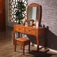 卧室梳妆台 简约现代带镜化妆台 全实木橡木多功能化妆桌整套特价