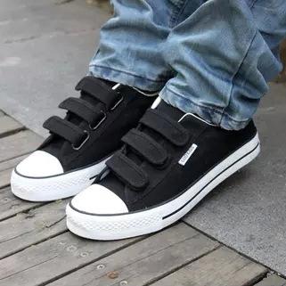 白帆布鞋怎么洗_帆布鞋 男 魔术贴粘扣男士休闲白色学生板鞋韩版潮流男鞋子 代发