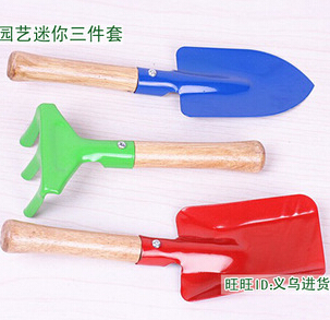 供应小朋友礼物 彩色迷你园艺三件套 小铁铲 耙 锹 家庭种花必备工具
