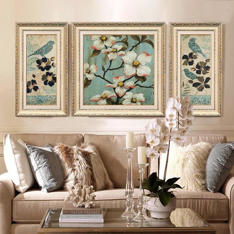 客厅装饰画现代欧式沙发背景墙画有框三联画餐厅壁画高档美式挂画