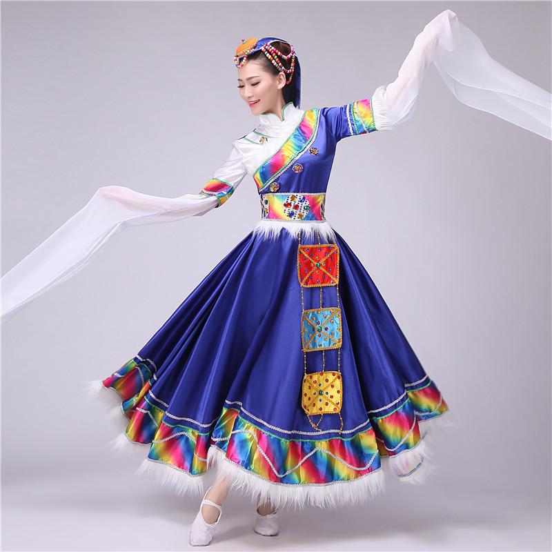 新款藏族蒙古族舞蹈服 大裙摆表演服 开场舞长水袖演出服饰女款
