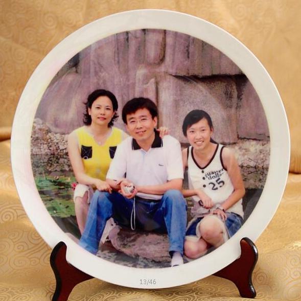 陶瓷影像盘 居家摆件工艺品盘 照片纪念瓷盘 定制陶瓷盘 可加印logo