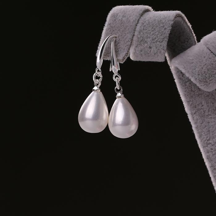 北海珍珠批發   S925純銀珍珠耳環長款 紅色耳墜女簡約氣質耳飾品