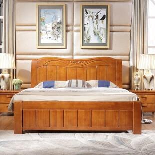 供应 实木家具储物高箱中式橡木实木床