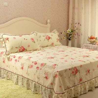 家纺韩版床上用品纯棉春秋床品四件套全棉田园公主被套