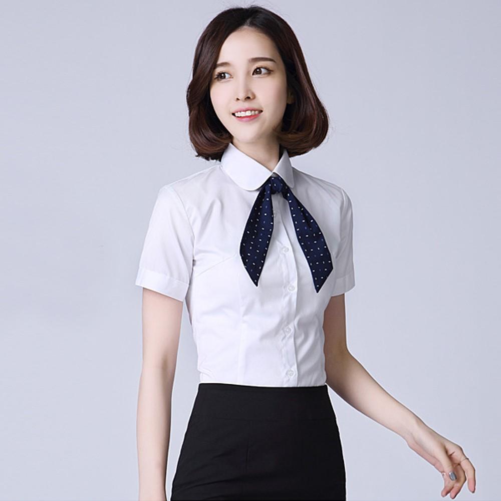 女士职业衬衫 职业衬衣定做  女式短袖尖领衬衫定做 售后无忧 免费修改