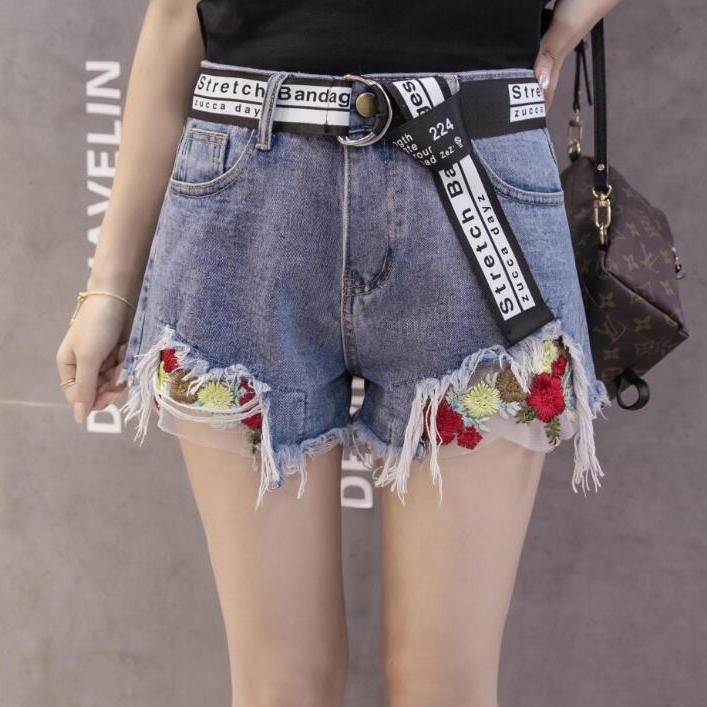 夏季新款韩版宽松重工刺绣花朵网纱拼接阔腿牛仔短裤学生热裤