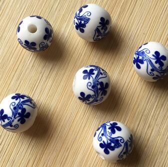 供应 青花瓷白瓷散珠 流苏水晶手链珠子