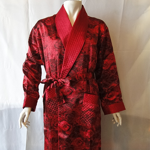 丝绸睡衣 真丝睡衣 顺成纺织丝绸睡衣 红色印花睡袍睡衣男