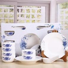 供应 青花瓷盘子碗套装 14头餐具