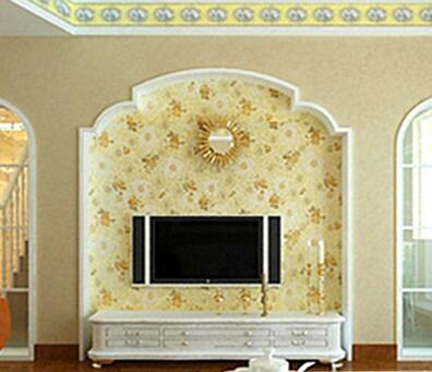 地中海風格 石膏線條 電視背景墻邊框圓弧電視墻拱形框架訂做
