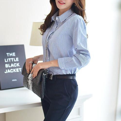 春装纯棉显瘦女装上衣中长款全棉细条纹衬衫韩版长袖职业女士衬衣