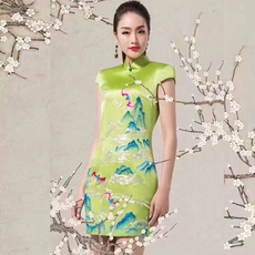 中式名族风连衣裙旗袍高档真丝桑蚕丝旗袍 长袖偏年轻的旗袍批发定制 顺成旗袍
