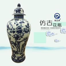 雅缶牌陶瓷 大埔厂家直销 手绘青花16寸细身将军坛(160802)
