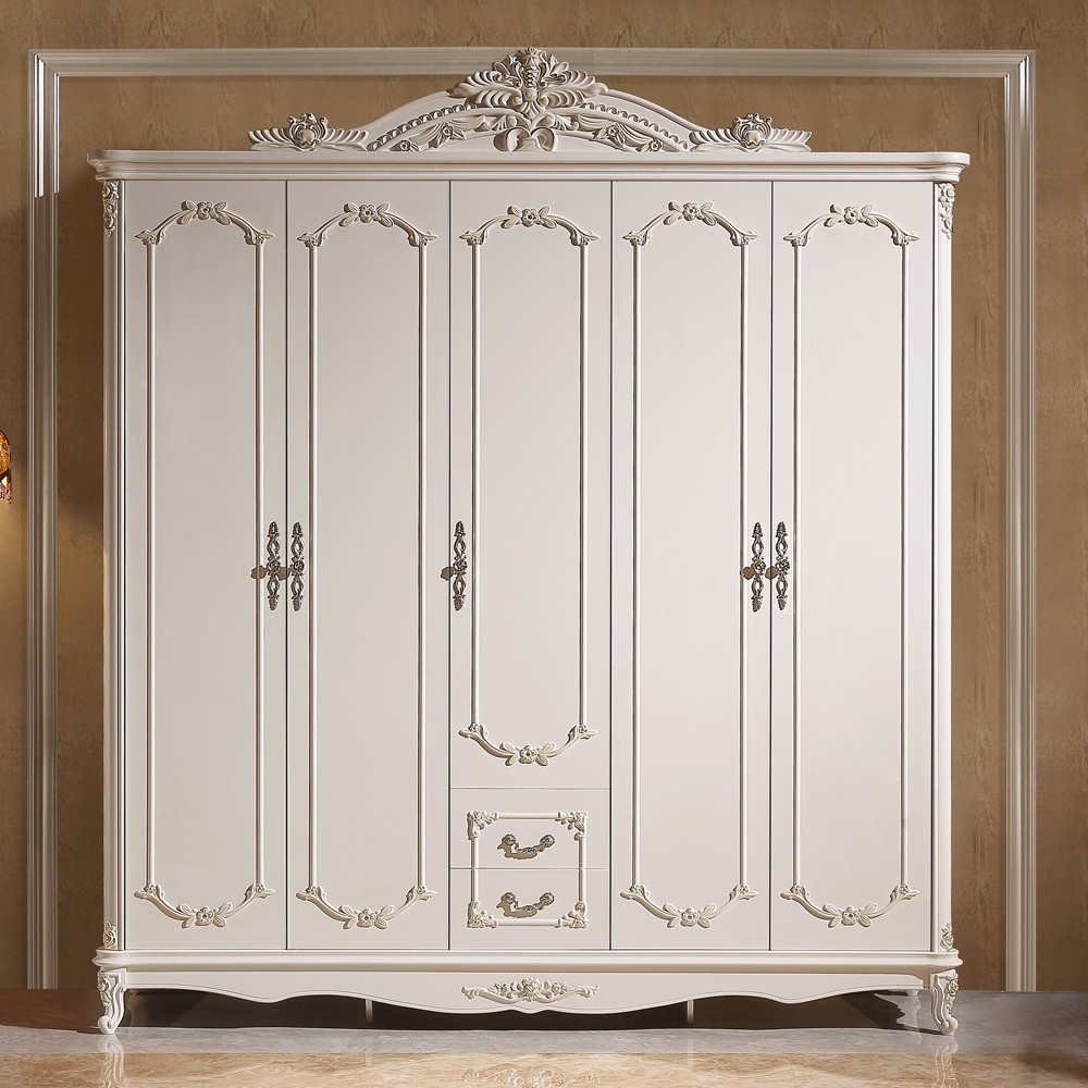 欧式衣柜法式时尚四门整体衣柜卧室白色趟门衣橱价格
