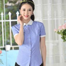 韩版职业衬衫女短袖OL通勤修身衬衣工装大码白色女款的衬衫春夏