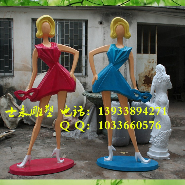 士永雕塑厂定做玻璃钢雕塑现代人物雕塑商场步行街时尚少女购物雕塑