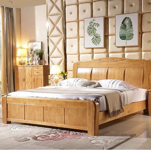 新中式高档橡木实木双人床高箱储物床