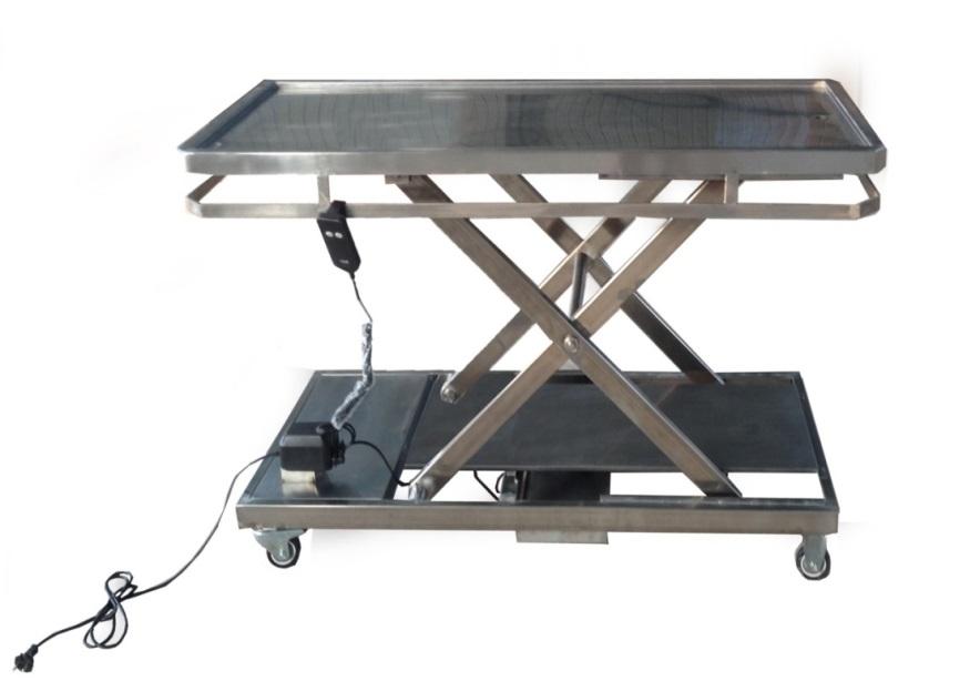 功能介绍: 1.整体采用优质304不锈钢材料制造,耐高温、防腐、防锈; 2.台面表面平整,易于清洁消毒,避免交叉感染; 3.台面四周凹槽设计,便于污物导入排污口; 4.台面下方四周有导轨,可选配4个沿导轨滑动的滑块; 5.整机上升.下降采用电动系统控制完成; 6.电动系统工作电压为220V~230V; 7.