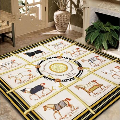 罗马风格客厅茶几现代沙发卧室床边正方形地毯满铺可定制水洗