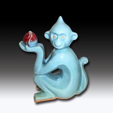 灵猴献寿 气烧 主釉色红色 现代艺术 精品摆件 收藏 镇宅 平安 礼品 古典传统