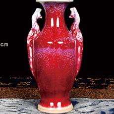 陶瓷器 钧瓷仿古开片花瓶 大红色