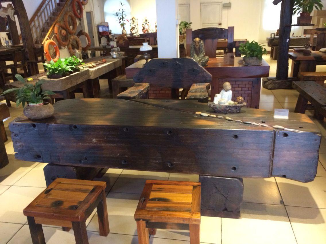 超低价老船木椅子茶桌大吧台收银台摆件墙背景博古架