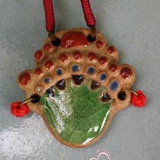 瓷器钧瓷首饰饰品窑变美品挂饰项链京剧脸谱把玩收藏
