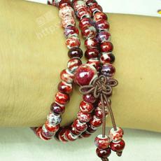 多彩陶瓷钧瓷手链手串108颗窑变佛珠念珠创意时尚礼品首饰