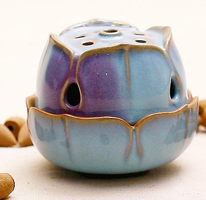 陶瓷器高档小香炉香具香薰炉 钧瓷高莲花香炉