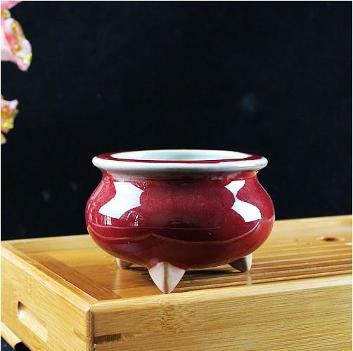 陶瓷钧瓷仿古 红釉三足小香炉内外均施全釉烧香供案礼佛祭祀佛具