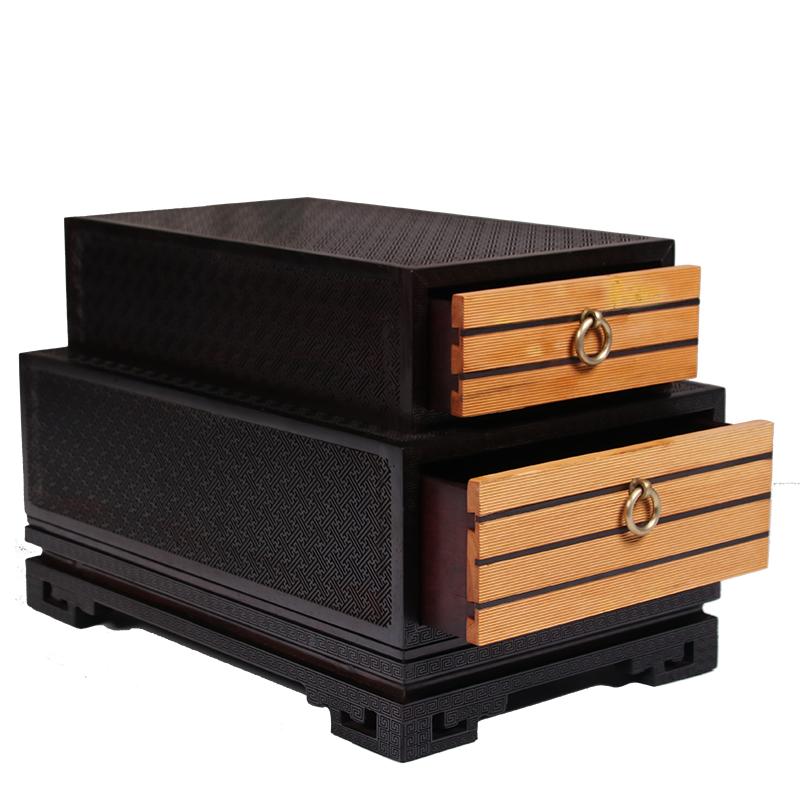 双木之家仙作红木工艺品紫檀黄杨书型双层精美茶盒手鉓箱