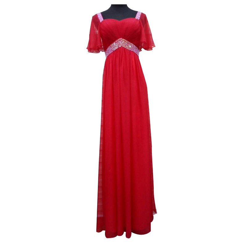 红色修身长裙礼服