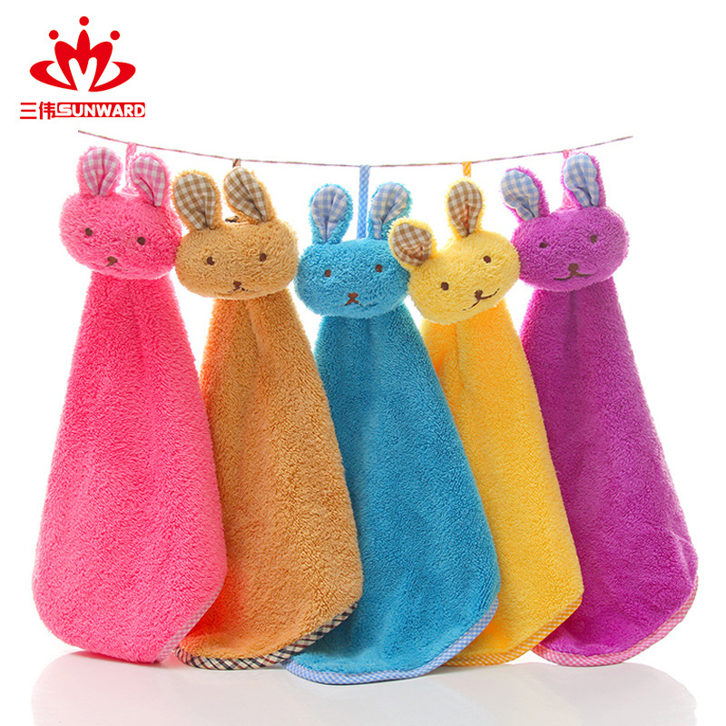 高阳毛巾厂家直销可爱卡通兔头珊瑚绒擦手巾创意厨房